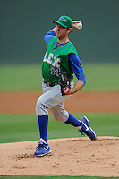 Starting pitcher Greg Billo (14) of the Lexington Legends bats in a game against the Greenville Drive on Friday, August 18, 2013, at Fluor Field at the West End in Greenville, South Carolina. Lexington won, 5-0. (Tom Priddy/Four Seam Images)