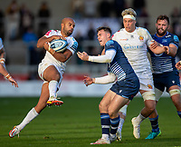 3rd October 2021; AJ Bell stadium, Eccles, Greater Manchester, England: Gallagher Premiership Rugby, Sale v Exeter ;  Tom O'Flaherty of Exeter Chiefs takes a ball ahead of  Tom Roebuck of Sale Sharks