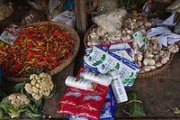 Borobudur, Java, Indonesia.  Peppers, Garlic, Cauliflower, and Personal Care Items for Sale at Village Shop.