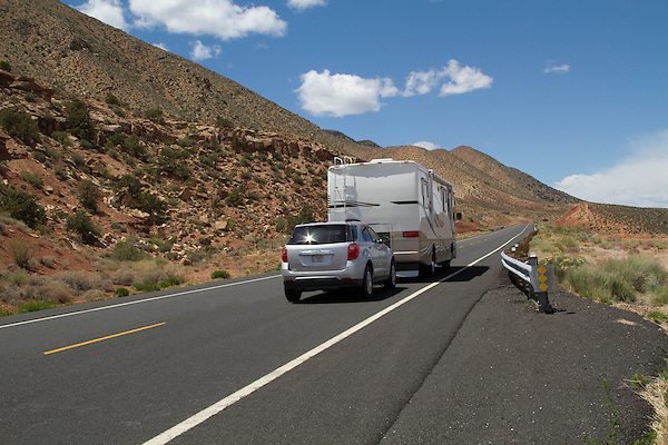 Camper on Highway 160 at the Grand Canyon entrance, Ariziona. . John offers private photo tours in Grand Canyon National Park and throughout Arizona, Utah and Colorado. Year-round.