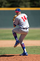 Stockton Ports relief pitcher Boomer Biegalski (14) prepares to deliver a pitch during a California League game against the Visalia Rawhide at Visalia Recreation Ballpark on May 9, 2018 in Visalia, California. Stockton defeated Visalia 4-2. (Zachary Lucy/Four Seam Images)