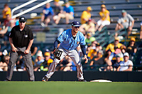 Tampa Bay Rays first baseman Dalton Kelly (76) during a Spring Training game against the Pittsburgh Pirates on March 10, 2017 at LECOM Park in Bradenton, Florida.  Pittsburgh defeated New York 4-1.  (Mike Janes/Four Seam Images)