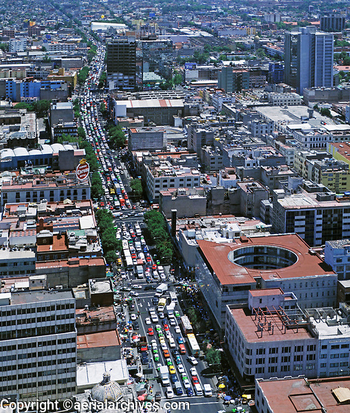 aerial photograph of heavy traffic on Eje Central in Mexico City, Mexico viewed from the central historic district to the south