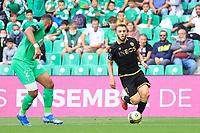 25th September 2021; Saint-Etienne Stade Geoffroy Guichard, France; AS Saint-Etienne versus OGC Nice; Amine GOUIRI takes on Harold MOUKOUDI