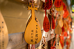 Ema wooden wishing plaques left by visitors at the Shinobazunoike Bentendo Temple, Tokyo, Japan.