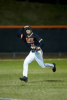 Davie War Eagles left fielder Hite Merrifield (21) chases after a fly ball during the game against the Lake Norman Wildcats at Davie County High School on March 7, 2018 in Mocksville, North Carolina.  The Wildcats defeated the War Eagles 12-0.  (Brian Westerholt/Four Seam Images)