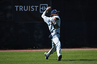 Catawba Indians left fielder Trenton Walsh (36) throws the ball back to the infield during game two of a double-header against the Queens Royals at Tuckaseegee Dream Fields on March 26, 2021 in Kannapolis, North Carolina. (Brian Westerholt/Four Seam Images)