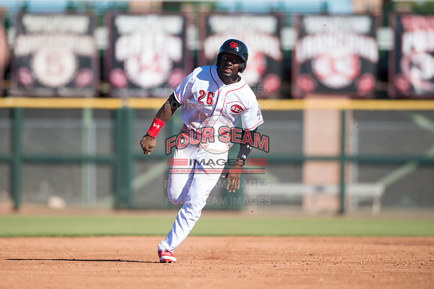 Scottsdale Scorpions left fielder Taylor Trammell (26), of the Cincinnati Reds organization, runs to third base during an Arizona Fall League game against the Surprise Saguaros at Scottsdale Stadium on October 26, 2018 in Scottsdale, Arizona. Surprise defeated Scottsdale 3-1. (Zachary Lucy/Four Seam Images)