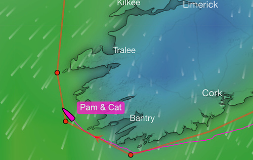Pam Lee and Cat Hunt at 0945 this morning off the County Kerry coast. Scroll down for live tracker below