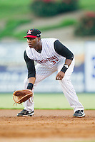 Kannapolis Intimidators first baseman Keon Barnum (35) on defense against the Hickory Crawdads at CMC-Northeast Stadium on July 26, 2013 in Kannapolis, North Carolina.  The Intimidators defeated the Crawdads 2-1.  (Brian Westerholt/Four Seam Images)