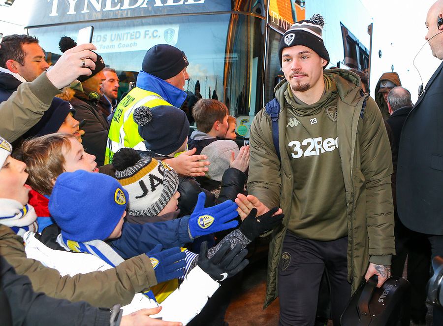 Leeds United's Kalvin Phillips arrives at Elland Road<br /> <br /> Photographer Alex Dodd/CameraSport<br /> <br /> The EFL Sky Bet Championship - Leeds United v Norwich City - Saturday 2nd February 2019 - Elland Road - Leeds<br /> <br /> World Copyright © 2019 CameraSport. All rights reserved. 43 Linden Ave. Countesthorpe. Leicester. England. LE8 5PG - Tel: +44 (0) 116 277 4147 - admin@camerasport.com - www.camerasport.com
