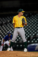 AZL Athletics Gold relief pitcher Vince Coletti (54) during an Arizona League game against the AZL Cubs 1 at Sloan Park on June 20, 2019 in Mesa, Arizona. AZL Athletics Gold defeated AZL Cubs 1 21-3. (Zachary Lucy/Four Seam Images)