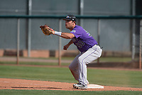 Colorado Rockies first baseman Roberto Ramos (50) during a Minor League Spring Training game against the Los Angeles Angels at Tempe Diablo Stadium Complex on March 18, 2018 in Tempe, Arizona. (Zachary Lucy/Four Seam Images)