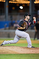 New Jersey Jackals relief pitcher Evan DeLuca (27) delivers a pitch to the plate against the Sussex County Miners at Skylands Stadium on July 29, 2017 in Augusta, New Jersey.  The Miners defeated the Jackals 7-0.  (Brian Westerholt/Four Seam Images)