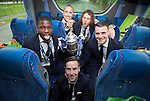 St Johnstone v Dundee United....17.05.14   William Hill Scottish Cup Final<br /> Steven MacLean, Nigel Hasselbaink, Lee Croft, Stevie May and James Dunne on the journey back to Perth<br /> Picture by Graeme Hart.<br /> Copyright Perthshire Picture Agency<br /> Tel: 01738 623350  Mobile: 07990 594431