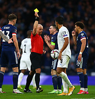 9th October 2021; Hampden Park, Glasgow, Scotland; FIFA World Cup football qualification, Scotland versus Israel;  Andy Robertson of Scotland is yellow carded for arguing the non-goal
