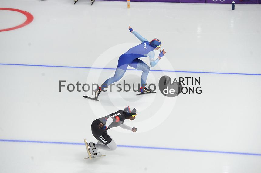 OLYMPIC GAMES: PYEONGCHANG: 18-02-2018, Gangneung Oval, Long Track, 500m Ladies, Erin Jackson (USA), Ida Njatun (NOR), ©photo Martin de Jong