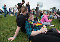 Members and supporters of Alaska's LGBT Community gather at Alaska Pridefest's PrideFestival on Anchorage's Delaney Park Strip.