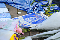 Pictured:  Tributes to Emiliano Sala outside the Cardiff City Stadium in south Wales, UK. Wednesday 23 January 2019<br /> Re: Premier League footballer Emiliano Sala was on a flight which disappeared between France and Cardiff.<br /> The Argentine striker was one of two people on board the Piper Malibu, which disappeared off Alderney on Monday night.<br /> Cardiff City FC, signed the 28-year-old from French club Nantes.