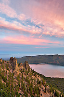 Sunrise from Paulina Peak with Paulina Lake. Newberry National Volcanic Monument. Central Oregon