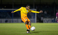 Jason Banton of Wycombe Wanderers hits a shot at goal during the Johnstone's Paint Trophy match between Bristol Rovers and Wycombe Wanderers at the Memorial Stadium, Bristol, England on 6 October 2015. Photo by Andy Rowland.