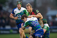 Chris Robshaw of Harlequins is tackled by James Loxton of Connacht Rugby during the Heineken Cup match between Harlequins and Connacht Rugby at The Twickenham Stoop on Saturday 12th January 2013 (Photo by Rob Munro).