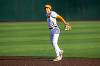 Tennessee Volunteers second baseman Max Ferguson (2) warms up prior to the game against the LSU Tigers on Robert M. Lindsay Field at Lindsey Nelson Stadium on March 26, 2021, in Knoxville, Tennessee. (Danny Parker/Four Seam Images)