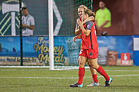 Portland, OR - Saturday July 22, 2017: Mallory Weber, Lindsey Horan celebrate during a regular season National Women's Soccer League (NWSL) match between the Portland Thorns FC and the Washington Spirit at Providence Park.