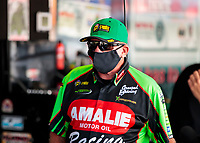 Aug 9, 2020; Clermont, Indiana, USA; NHRA top fuel driver Terry McMillen during the Indy Nationals at Lucas Oil Raceway. Mandatory Credit: Mark J. Rebilas-USA TODAY Sports