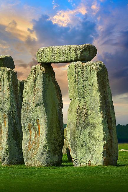 Stonehenge Neolithic ancient standing stone circle monument, Wilshire, England