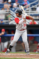 Brooklyn Cyclones outfielder Michael Conforto (39) at bat during a game against the Batavia Muckdogs on August 11, 2014 at Dwyer Stadium in Batavia, New York.  Batavia defeated Brooklyn 4-3.  (Mike Janes/Four Seam Images)