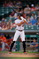 Indianapolis Indians Cole Tucker (27) bats during an International League game against the Syracuse Mets on July 16, 2019 at Victory Field in Indianapolis, Indiana.  Syracuse defeated Indianapolis 5-2  (Mike Janes/Four Seam Images)
