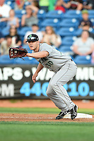 Dayton Dragons first baseman Daniel Pigott (30) waits for a throw during a game against the Lake County Captains on June 7, 2014 at Classic Park in Eastlake, Ohio.  Lake County defeated Dayton 4-3.  (Mike Janes/Four Seam Images)