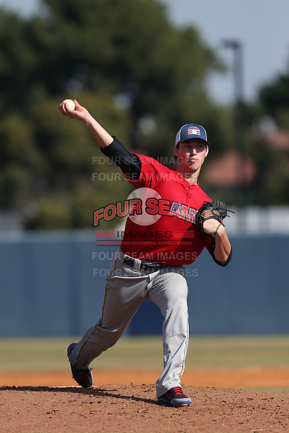 Grant Hockin of Damien High School in La Verne, California during the MLBS Southern California Invitational Workout at the Urban Youth Academy on February 14, 2014 in Compton, California. (Larry Goren/Four Seam Images)