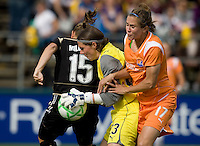 03 May 2009: Sky Blue goalkeeper Jenni Branam makes a save during the game against FC Gold Pride at Buck Shaw Stadium in Santa Clara, California.   FC Gold Pride defeated Sky Blue FC, 1-0.