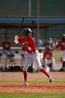 Corey Moore (9) bats during the Perfect Game National Underclass East Showcase on January 23, 2021 at Baseball City in St. Petersburg, Florida.  (Mike Janes/Four Seam Images)