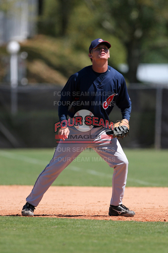 Cleveland Indians minor leaguer Josh Roberts during Spring Training at the Chain of Lakes Complex on March 17, 2007 in Winter Haven, Florida.  (Mike Janes/Four Seam Images)