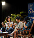 Authors' Louise Doughty, Mohammad Hanif and  Sarnath Banerjee during a conversation at the Galle Literary Festival held over the last weekend of January in the southern Sri Lankan city. It attracts big crowds to see authors and attend workshops in what is becoming an increasingly popular festival on the Asian circuit. The city of Galle was devastated by the massive Boxing Day Tsunami caused by the 2004 Indian Ocean earthquake that occurred a thousand miles away, off the coast of Indonesia. Thousands were killed in the city alone..Galle is the best example of a fortified city built by Europeans in south and southeast Asia, showing the interaction between European architectural styles and south Asian traditions. The Galle fort is a world heritage site and the largest remaining fortress in Asia built by European occupiers. .Galle is the main town in the most southerly part of the island, with a population of around 100,000, and is connected by rail to Colombo and Matara. It is home to a cricket ground, the Galle International Stadium, rebuilt after the 2004 tsunami. Test matches resumed there on December 18, 2007.