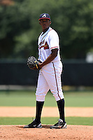GCL Braves pitcher Clayvon Sambola (63) gets ready to deliver a pitch during a game against the GCL Blue Jays on June 27, 2014 at the ESPN Wide World of Sports in Orlando, Florida.  GCL Braves defeated GCL Blue Jays 10-9.  (Mike Janes/Four Seam Images)