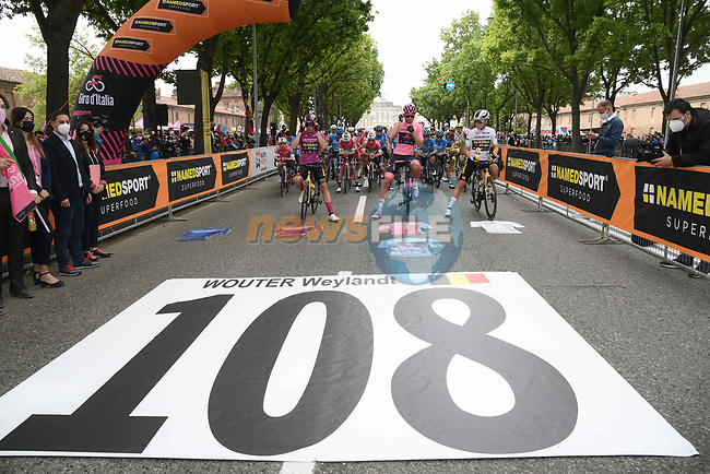 The Giro does not forget Wouter Weylandt. After having permanently retired the bib number 108 the whole Carovana Rosa wanted to remember the rider in the 10th anniversary of Wouter Weylandt's tragic death at the Giro d'Italia in 2011 before the start of Stage 2 of the 2021 Giro d'Italia, running 179km from Stupinigi (Nichelino) to Novara, Italy. 9th May 2021.  <br /> Picture: LaPresse/Gian Mattia D'Alberto | Cyclefile<br /> <br /> All photos usage must carry mandatory copyright credit (© Cyclefile | LaPresse/Gian Mattia D'Alberto)