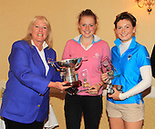 Dawn Butchart, Development Director, Scottish Ladies Golfing Association presents the team from Scottish Borders with their trophies as 2013 Scottish Schools Girls Team Champions: The Paul Lawrie Foundation Scottish Schools Golf Championships played at Murrayshall House Hotel and Golf Courses on 10th June 2013: Picture Stuart Adams www.golftourimages.com: 10th June 2013