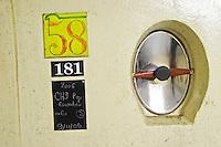 tank door sign on tank 58 chateauneuf red escondudas 2006 le cellier des princes chateauneuf du pape rhone france