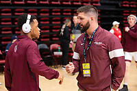 STANFORD, CA - March 7, 2020: Jayden Carson and Head Coach Neil Erisman of Little Rock during the 2020 Pac-12 Wrestling Championships at Maples Pavilion.
