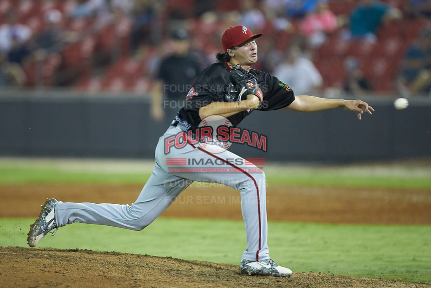 North Division pitcher Jordan Mills (30) of the Potomac Nationals delivers a pitch to the plate during the 2018 Carolina League All-Star Classic at Five County Stadium on June 19, 2018 in Zebulon, North Carolina. The South All-Stars defeated the North All-Stars 7-6.  (Brian Westerholt/Four Seam Images)