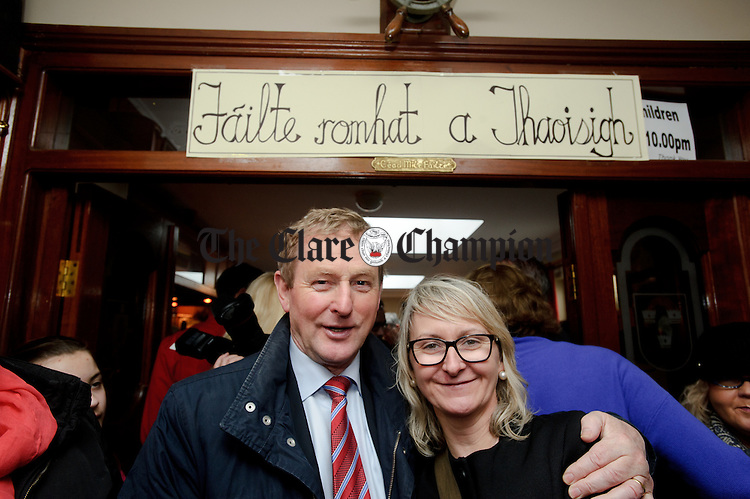 Enda Kenny, Taoiseach with Elaine Haugh during his visit to Loop Head to launch the Fine Gael tourism initiative. Photograph by John Kelly.