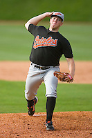 Matt Hobgood #34 of the Bluefield Orioles in action versus the Johnson City Cardinals at Howard Johnson Field August 1, 2009 in Johnson City, Tennessee. (Photo by Brian Westerholt / Four Seam Images)