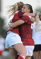 NWA Democrat-Gazette/ANDY SHUPE<br /> Arkansas' Stefani Doyle (left) and Lindsey Mayo celebrate Mayo's goal against Vanderbilt Thursday, Oct. 6, 2016, during the first half of play at Razorback Field in Fayetteville. Visit nwadg.com/photos to see more photographs from the game.