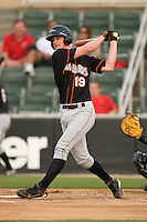 Michael Ohlman #19 of the Delmarva Shorebirds follows through on his swing against the Kannapolis Intimidators at Fieldcrest Cannon Stadium May 14, 2010, in Kannapolis, North Carolina.  Photo by Brian Westerholt / Four Seam Images