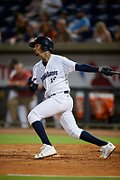 Pensacola Blue Wahoos Shrimp starting pitcher Vladimir Gutierrez (15) hits a double during a game against the Jacksonville Jumbo on August 15, 2018 at Blue Wahoos Stadium in Pensacola, Florida.  Jacksonville defeated Pensacola 9-2.  (Mike Janes/Four Seam Images)