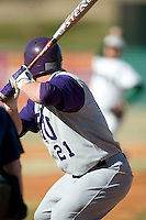 James Madison right fielder Kellen Kulbacki (21) awaits the pitch from Charlotte's Adam Mills at Fieldcrest Cannon Stadium in Kannapolis, NC, Friday, March 2, 2007.  The Charlotte 49'ers defeated the James Madison Dukes 16-7.